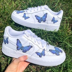 Nike Air Force 1 Custom Blue Butterfly Sneaker